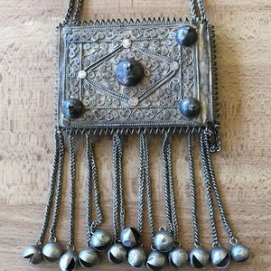 LARGE vintage Ethnic silverplate chiming necklace.